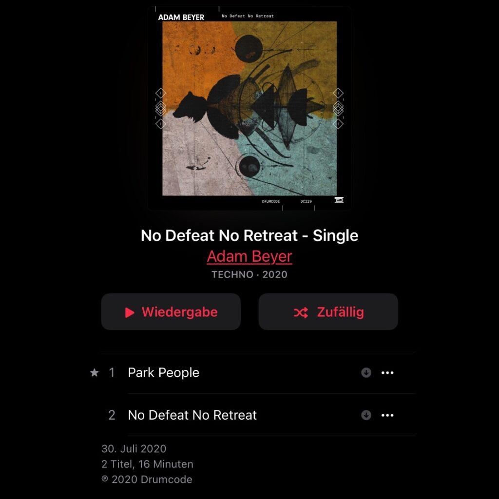 Der Track/das Album der Woche, Ausgabe 13; One Track or Album per Week, Number 13: Adam Beyer/No Defeat, No Retreat.